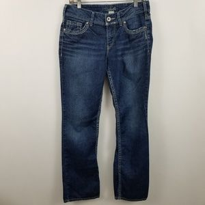 "Silver Suki 17"" Boot Cut Womens Dark Wash Jeans"